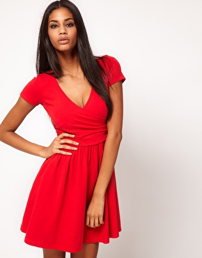 ASOS | ASOS Skater Dress With Ballet Wrap at ASOS