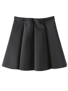Black Simple Skater Skirt - Choies.com