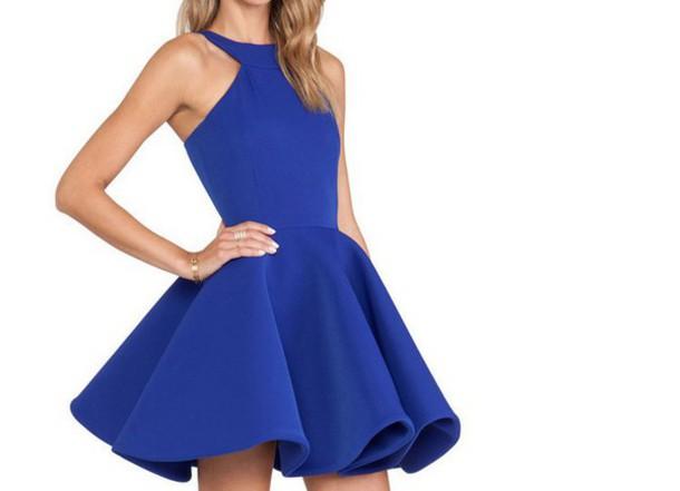 dress blue blue dress skater dress halter top