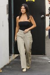 pants,kourtney kardashian,kardashians,top,khaki,khaki pants,strapless