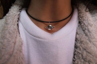 jewels medal neptune short black string necklace saturn choker necklace cute science girl indie bambi cool silver black baby thick jumper fur white monochrome space