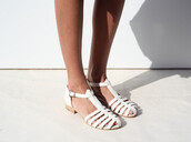 shoes,white,sandles,sandals,leather sandals,tan,clothes,fashion,chanel,cute,summer,spring,heels
