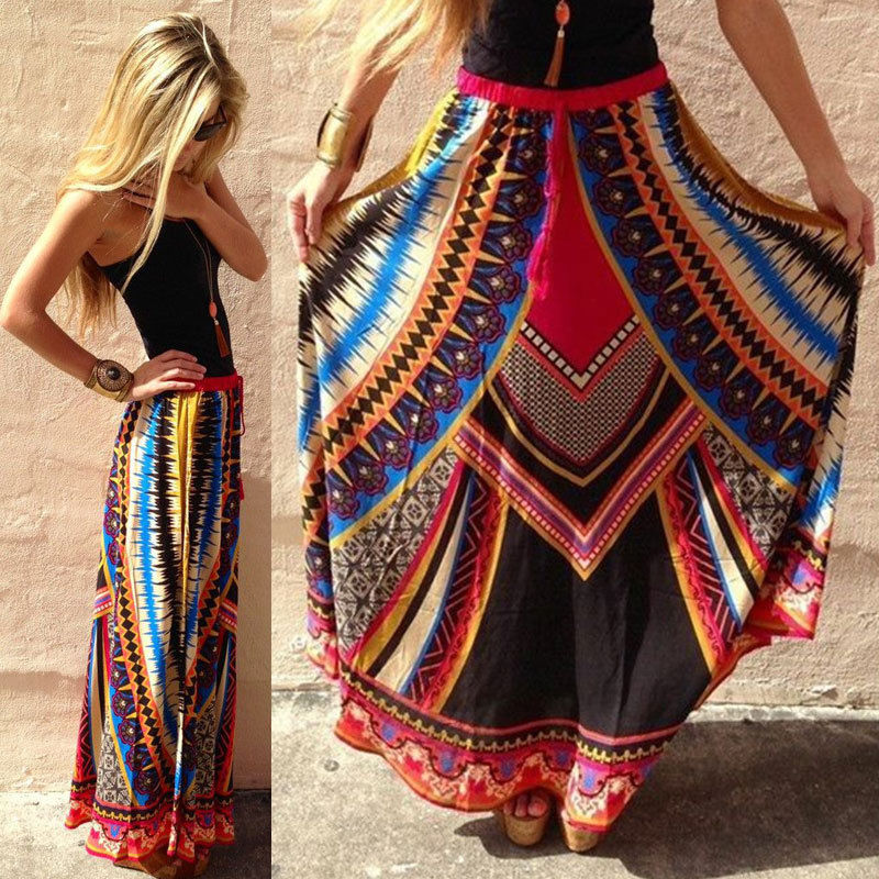 Print High Waist Pleated Summer Beach Long Maxi Skirt Casual Dress ...