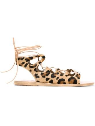 sandals flat sandals print leopard print nude shoes