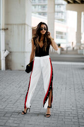 pants,tumblr,white pants,athleisure,slit pants,sandals,sandal heels,high heel sandals,black sandals,top,black top,sleeveless,sleeveless top,sunglasses,shoes