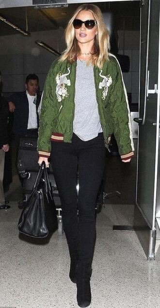 top jacket bomber jacket rosie huntington-whiteley fall outfits jeans satin bomber