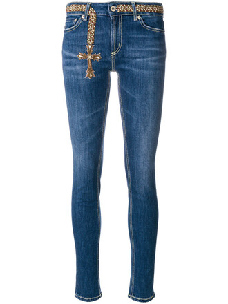 jeans skinny jeans cross embroidered women spandex cotton blue