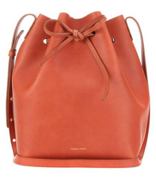 Mansur Gavriel Bucket Leather Crossbody Bag in brown