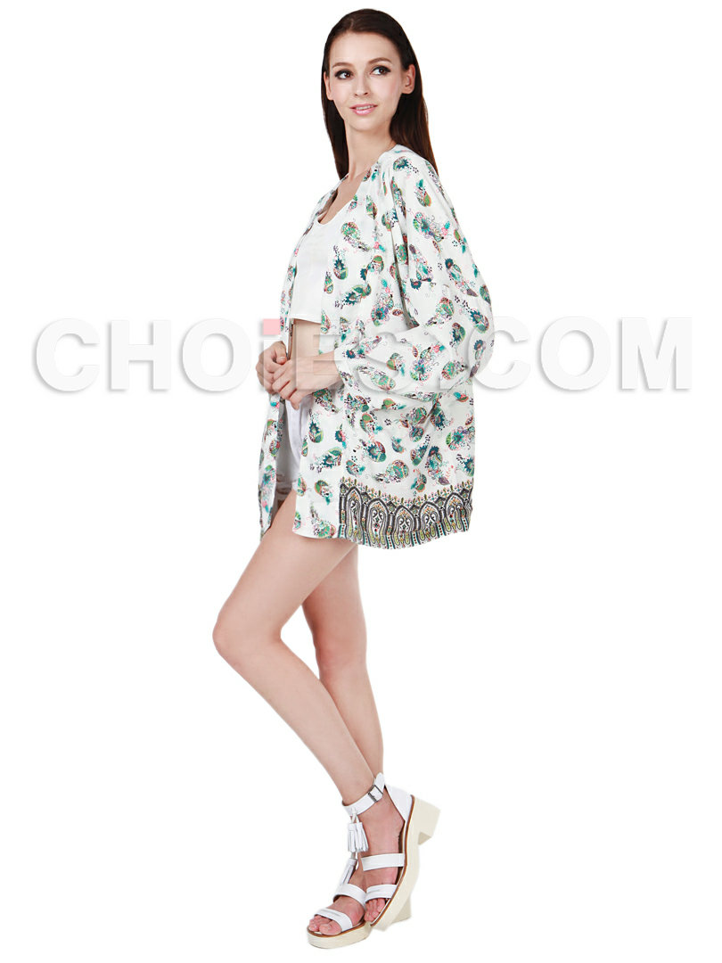 White National Floral Vintage Kimono Coat - Choies.com