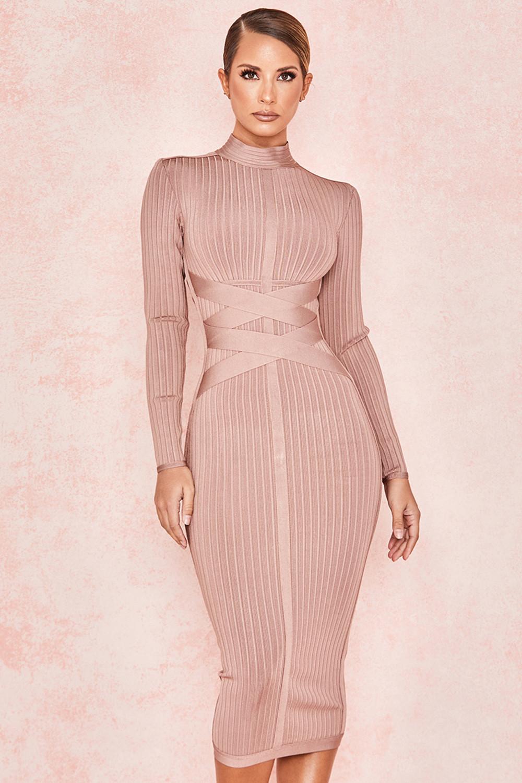 Clothing : Bandage Dresses : 'Carrera' Mink Cross Strap Ribbed Bandage Dress