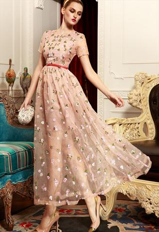 4c161a0ba8 Elegant Embroidered Maxi Dress