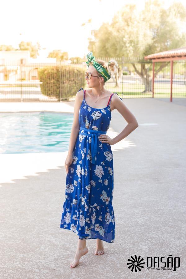 Blue Floral Cami Dress - OASAP.com