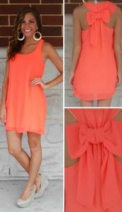 dress,coral dress,Bow Back Dress,orange dress,cute,summer,spring,shoes