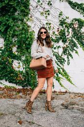 sequins and stripes,blogger,skirt,sweater,shoes,sunglasses,bag,ankle boots,grey sweater,mini skirt