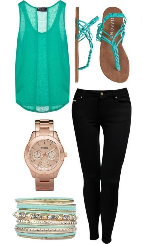 blouse teal sandals jewelry clothes bracelets watch jeans tank top all please xxx whole oufit top shoes pants