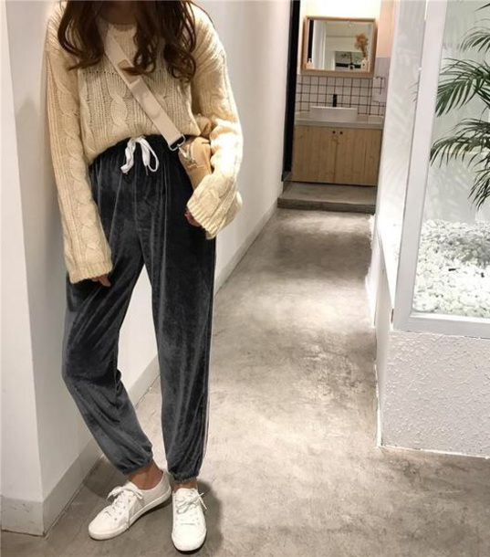 pants velvet girly joggers sweatpants