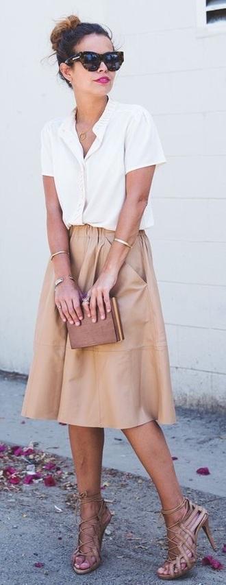 skirt leathe skirt brown tan tan skirt skater skirt midi skirt mid leather skirt