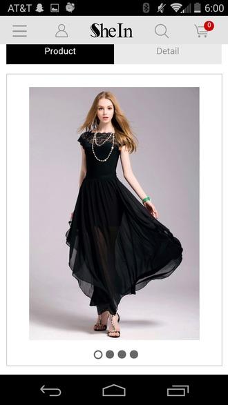 dress black dress flowy sheer prom dress short sleeve lace