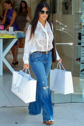 jeans,denim,flare jeans,kourtney kardashian,wedges,sandals,blouse,mules,shoes