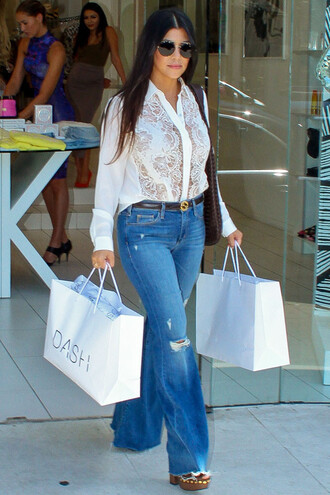jeans denim flare jeans kourtney kardashian wedges sandals blouse mules shoes