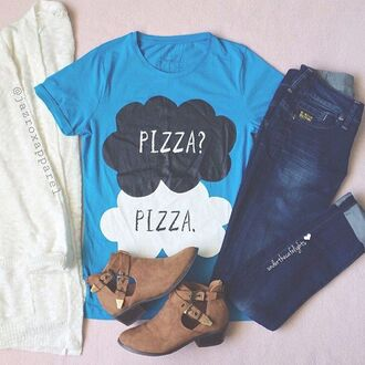 t-shirt hipster style girly cool neon quote on it pizza tfios shirt tumblr girl dope summer outfits pretty summer trendy short lookbook pastel swag urban blue top