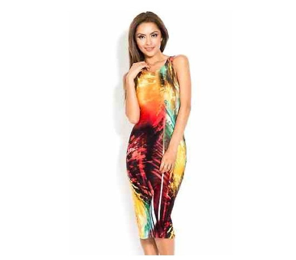 Abstract Bodycon midi - dress – Mod Marie Boutique