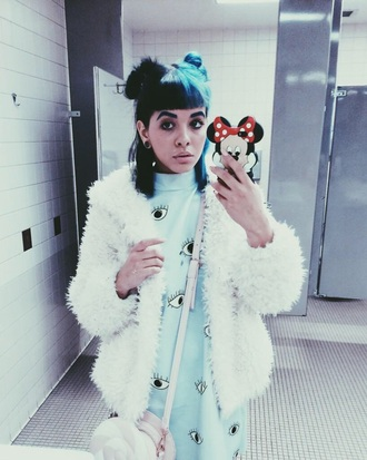 faux fur melanie martinez coat faux fur coat white dress eyeballs t-shirt jacket fuzzy coat blue dress blue eyes kawaii