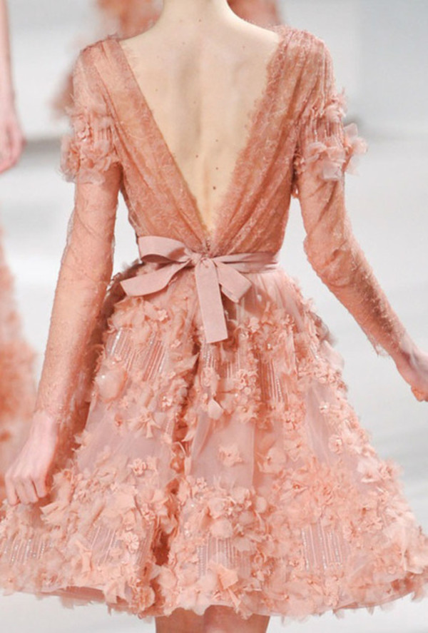 dress pink pink dress flowers coral prom dress skirt elie saab