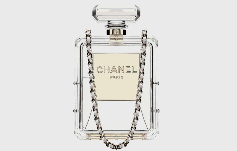 647dace2fbec1d Chanel Clear Plexiglass No 5 Perfume Bottle Clutch Handbag Runway | eBay