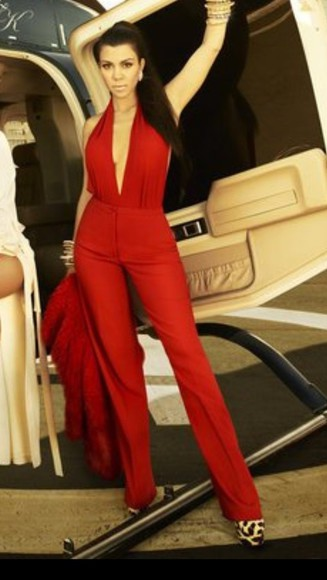 kourtney kardashian dress sexy red full body suit red bodysuit