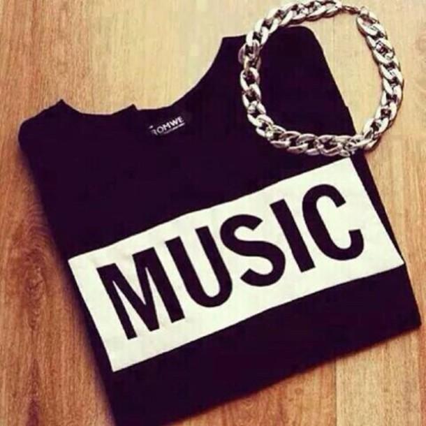shirt black music shirt