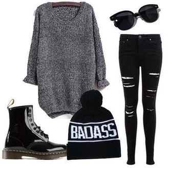 hat beanie sweater boots ripped jeans sunglasses grunge top jeans