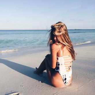swimwear white tie dye swimwear beachwear one piece swimsuit