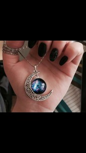 jewels,pandora,moon necklace,blue jewellery