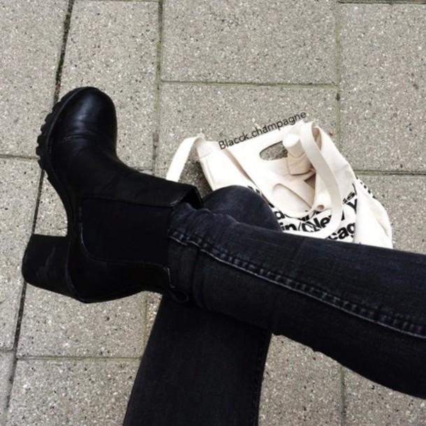 shoes shoes boots black fashion