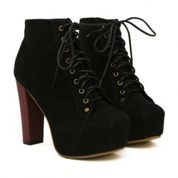Party women's ankle boots with joker solid color and increased internal design (black,38)