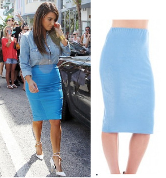 skirt pencil skirt denim skirt kim kardashian blue skirt bodycon skirt