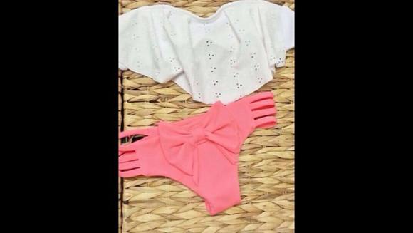 bows swimwear coral ruffled bikini