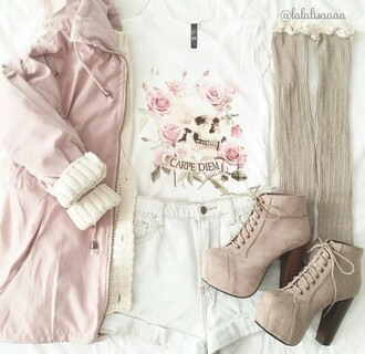 coat pink coat spring outfits t-shirt shoes suede boots chunky sole chunky heels chunky boots platform shoes lace up boots ankle boots socks creme lace jacket shorts shirt dress heels pastel pink pink floral brown boots lace up sweater cardigan skirt