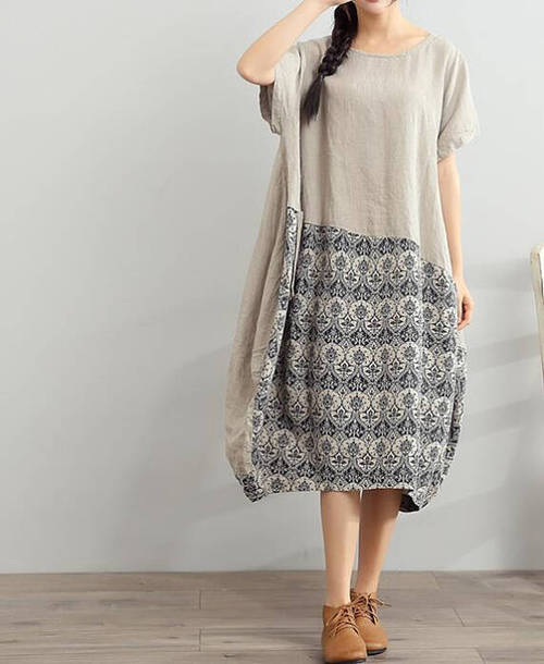 dress large size linen dress