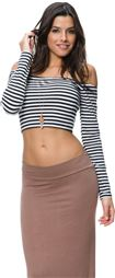 AURORA STRIPE OFF SHOULDER CROP TOP > Womens > Clothing > Tops & Tees | Swell.com
