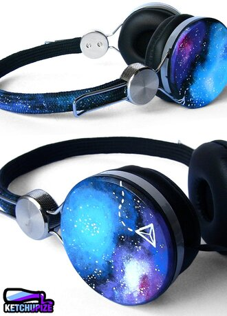 earphones headphones cute galaxy print girly lovely music blue purple grunge wishlist printed headphones