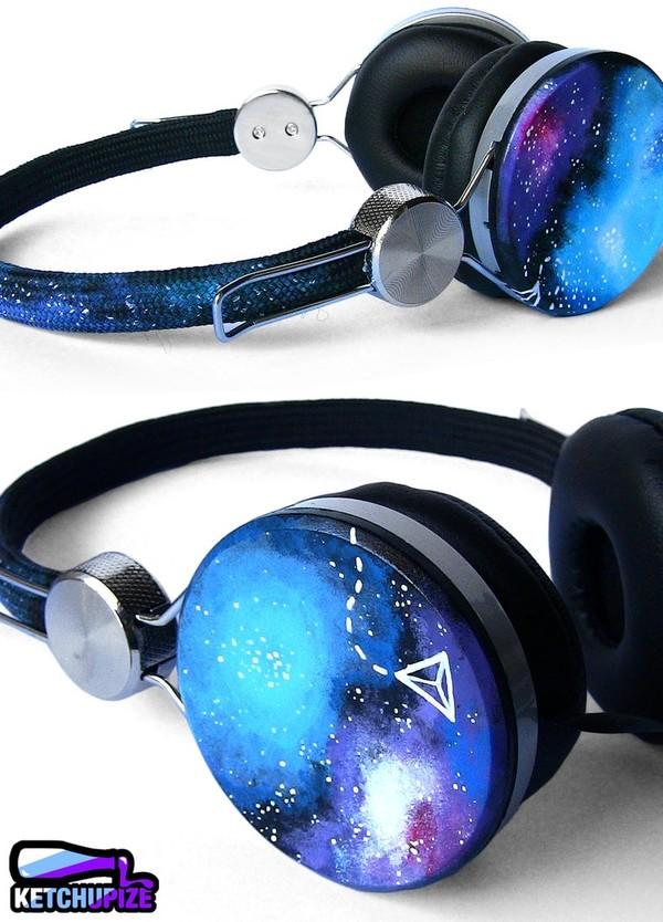 earphones headphones cute galaxy print girly lovely music blue purple grunge wishlist printed headphones