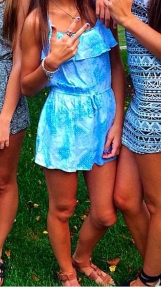 dress romper blue romper blue dress shorts sandals brown shoes brown sandals summer dress