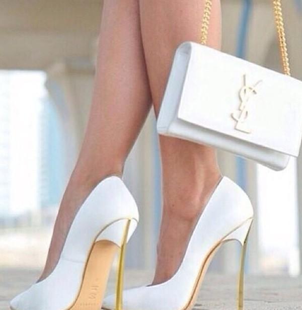 shoes heels white heels white and gold heels stilettos stilettos white gold ysl gold heels white stillettos gold stiletto