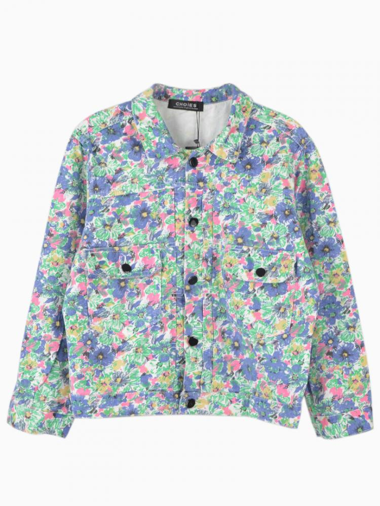 Floral Printed Denim Coat | Choies