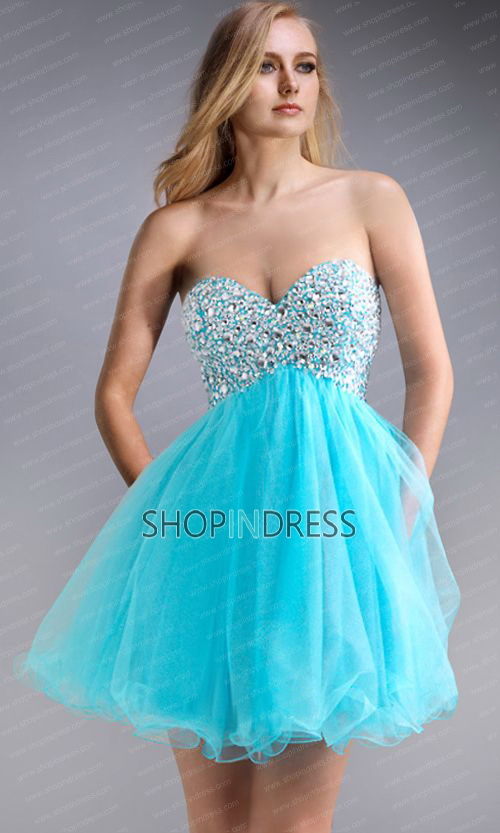 Line sweetheart short/mini chiffon blue evening dress with beaded npd1364 sale at shopindress.com