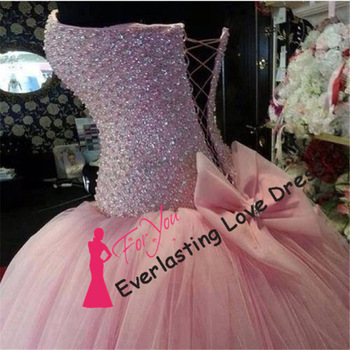 Beautiful sweetehart heavy beading bodice bow bandage pink ball gowns quinceanera dress sexy sixteen dresses ball gowns