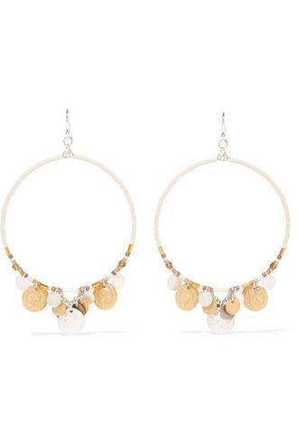 beaded earrings hoop earrings silver white jewels