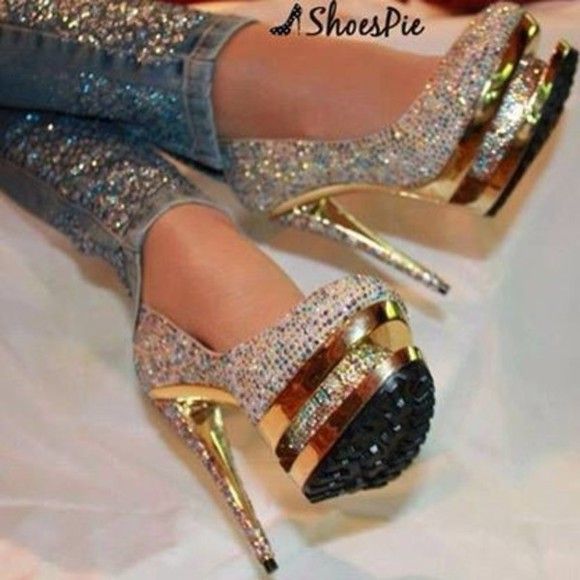gold white glitter black shoes high heels glitter shoes diamonds pumps